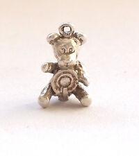 925  Fine Silver Charm Bracelet Pendant Vintage Retro Teddy Bear Cute