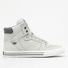 Supra Mens Vaider Lace Up Active Gym Sport Hi Tops Light Grey Trainers