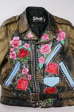 Schott Perfecto Vintage Black Leather Motorcycle Jacket Size 42 Painted Custom