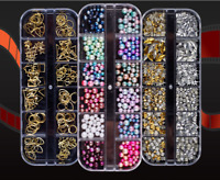 3D Glitters Nail Art Rhinestones Sequins Beads Acrylic Manicure Tips Decoration