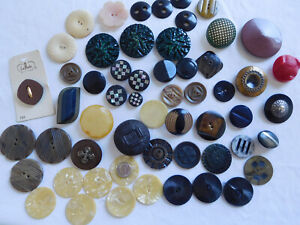Lot of 56 vtg LARGE COAT plastic bakelite celluloid Inlaid MOP overlay BUTTONS