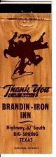 Brandin-Iron Inn Highway 87 South Big Spring Texas TX Vintage Matchcover
