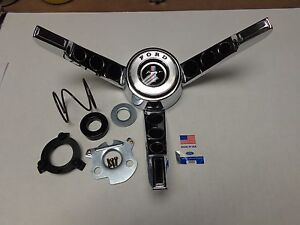 Rare 1965-1966 T-5 Ford Mustang Steering Wheel 3 spoke Horn ring, Made in USA