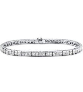 4.20 Ct Carat  Princess  Cut  Diamond Tennis Bracelet , white gold