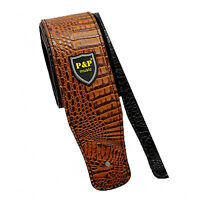 Guitar Strap PU Leather Embossed Alligator Acoustic Electric Guitar Bass Brown