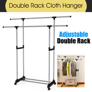 Double Clothes Stainless Rack Hanger Garment Cloth Holder Coat Adjustable