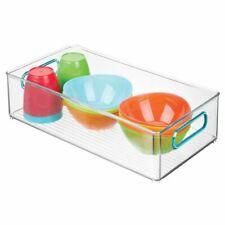 mDesign Plastic Storage Organizer Bin for Kids Supplies - Clear/Blue
