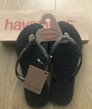 Havaianas Slim Logo Metalic Black And Gold Flip Flops Size Eur 35/36 Size 1-2