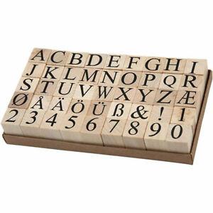Large Wooden European Alphabet & Number Rubber Stamp Kit Letter Stamps Wedding