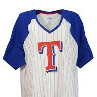 Texas Rangers MLB Majestic Women's Pinstripe Raglan V-Neck T-Shirt, nwt