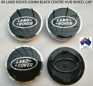 4 X 63 MM LAND ROVER RANGE ROVER ALLOY WHEEL BLACK CENTRE WHEEL BADGE HUB CAPS