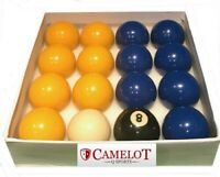 2 INCH BLUES AND YELLOWS POOL BALLS WITH 1 7/8 WHITE BALL (UK STANDARD SIZE)