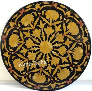Round Black Marble Coffee Table Top Floral Design Sofa Side Table 21 Inches