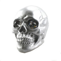 Silver Motorcycle Skull Headlight Head Light Lamp LED Universal For Harley BMW