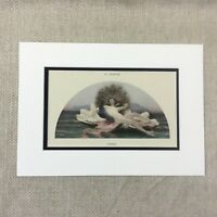 1898 Old French Erotica Print Nude Girl Peacock Guillaume Dubufe Antique