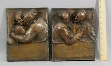 RARE Antique Hungarian Arts & Crafts Ede Telcs Bronze Plaques Young & Old Couple