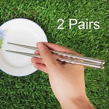 Chopstick Chinese Non-slip Stainless Steel Chopsticks Chop Sticks Silver 2 Pairs