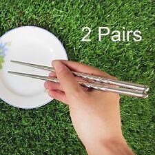 2 Pair Chinese Non-slip Stainless Steel Chopsticks Chop Sticks Silver