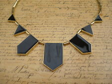 Gold Retro Aztec Black Geometric Tribal Costume Jewellery Necklace