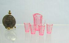 Dollhouse Miniature Pink Plastic Chrysnbon Pitcher & 4 Glasses