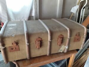 Large Vintage Wooden Banded Steamer Trunk Travel Chest /Coffee table