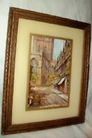 Antique French Reverse Painted Glass Mat Paris Street Print 1920's Paris Apt