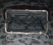 DEKO-Antik! Samt?-Handtasche dk.bordeaux rot/silber ca.22 x 15cm Vintage-Sammler