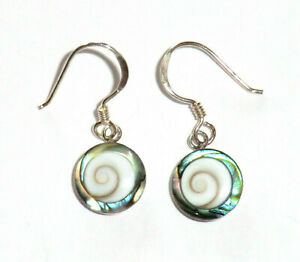 Shiva Muschel-Abalone Ohrringe + Shiva-Koralle Ohrhänger 925 Sterling Silber Neu