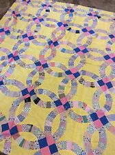 Double Wedding Ring Quilt Top Hand Sewn Yellow Raw Edge Twin Size 71 X 84 Vtg