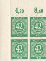 1946 Alliierte Besatzungszone Viererblock postfrisch 42 Pfennig