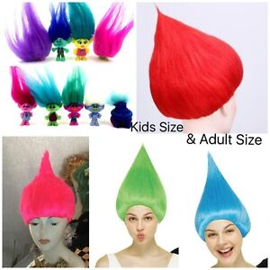 Trolls-Movie Style Festival Party Colourful ELF/PIXIE  Wig Cartoons Character-UK