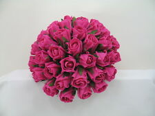 Wedding Bouquets, Bride Rose Posy in Hot Pink, Artificial Flowers, Bridesmaid
