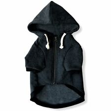 Charcoal Gray Adventure Zip Up Dog Hoodie With Velcro Pockets and Adjustable