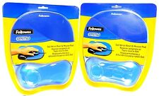 Lot of (2) FELLOWES 91141 Blue Crystal Mouse Pad/Wrist Rest,comfortable