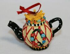 1997 Mary Engelbreit Mini Teapot With Crown Lid Christmas Ornament