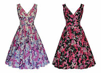 Vintage Retro 40s 50s  Butterfly Flared Cocktail Bridesmaid Party Tea Dress 8-20