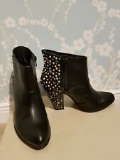 LADIES ZARA BLACK LEATHER STUDDED ANKLE BOOTS SIZE 4 37 EXCELLENT CONDITION