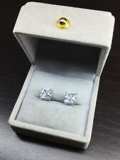 2.98Ct Super Perfect Princess Cut Solid 925 Sterling Silver Stud Earrings Boxed