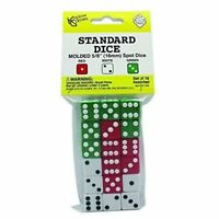 """Dice - 18 Pack Assortment Red White Green D6 Die 5/8"""" Size Koplow Games"""