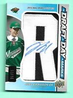 Joel Eriksson Ek 2017-18 SP Game Used Draft Day Marks Autograph #28/35 Wild