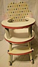 "Redone cupcake & painted pink and white wood high chair w/ Fits 12-16"" Dolls"