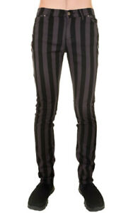 "Run & Fly Mens Skinny Stretch Grey & Black 1"" Striped Jeans Rock Indie Goth Punk"