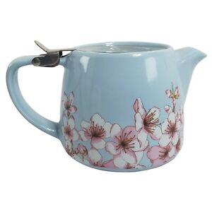 Alfred Teapot Cherry Blossoms Infuser Basket Blue Ceramic Stainless Steel 20 oz