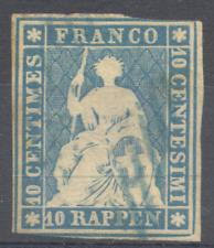 Schweiz 1854, sitzende Helvetia, Strubel, grüner SF, Mi 14 I, Zu 23 A, 550 Euro