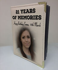 Personalised faux leather photo album, memory book, Happy 21st birthday present