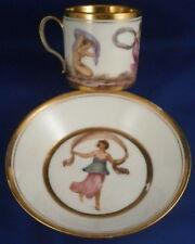 Antigüedad 18thc Nápoles REAL FABBRICA ferdinandea porcelana taza y Platillo