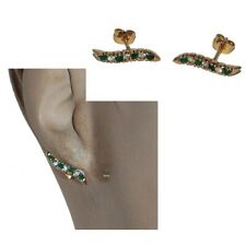 Earrings Remontantes Gold Plated 18 Carat Zirconium Green White Jewel