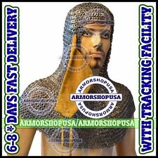 Flat Riveted Flat Washer Chainmail Coif Ventail Leather Chain Mail Aventail Hood