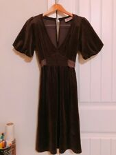 873125f629 Juicy Couture Velour Puff Sleeve Big Bow Deep V-Neck Long Classic Formal  Dress