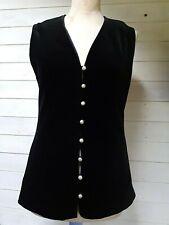 Vintage Black Velvet Waistcoat Butte Knit Size Label 14